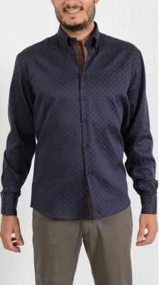 camicia blu microlavorata Easy