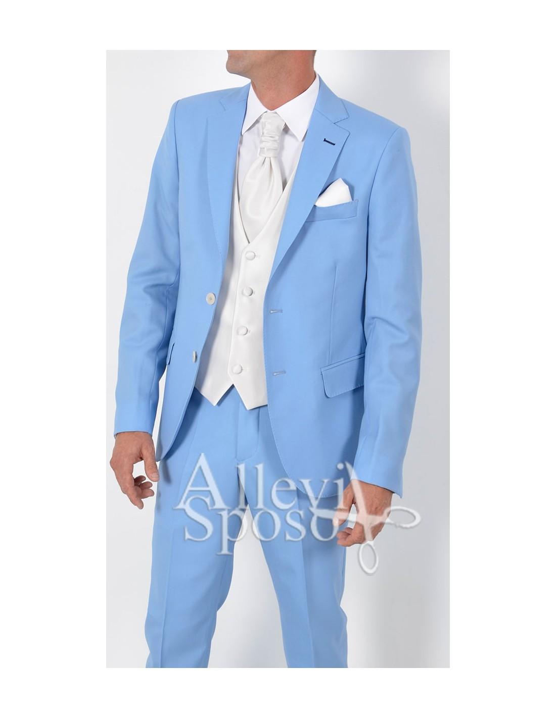 Abito Da Cerimonia Uomo Azzurro : Abito azzurro sposo vestito cerimonia chiaro