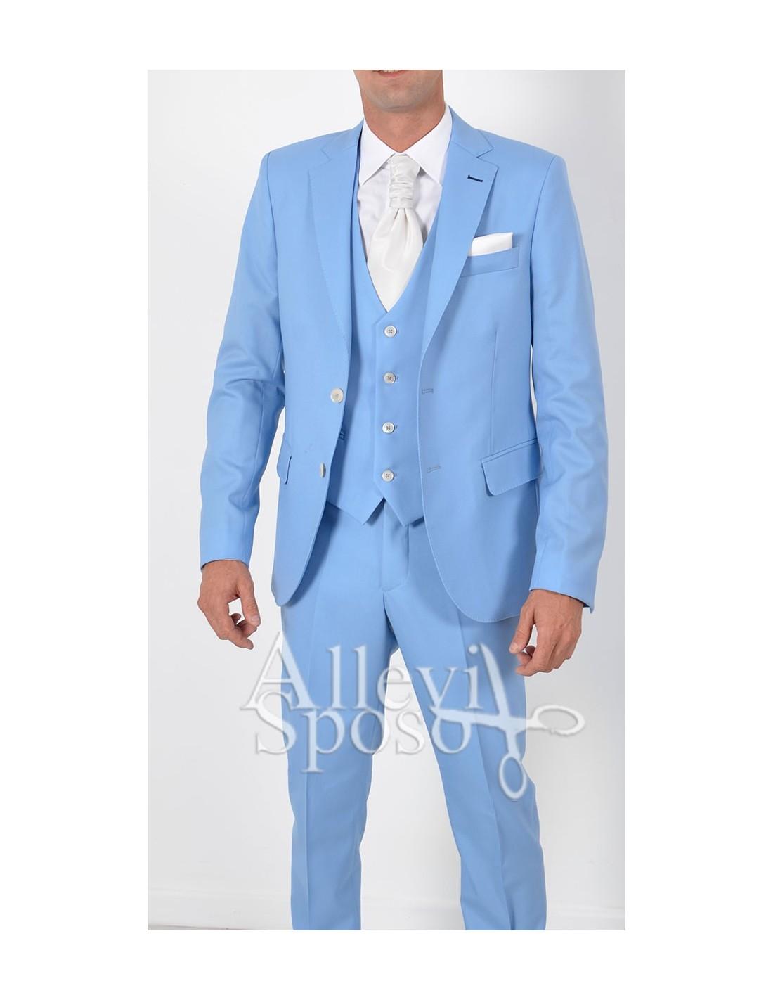 Vestito Matrimonio Uomo Azzurro : Abito azzurro sposo vestito cerimonia chiaro