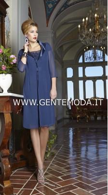 vestito ricamo blu cerimonia donna