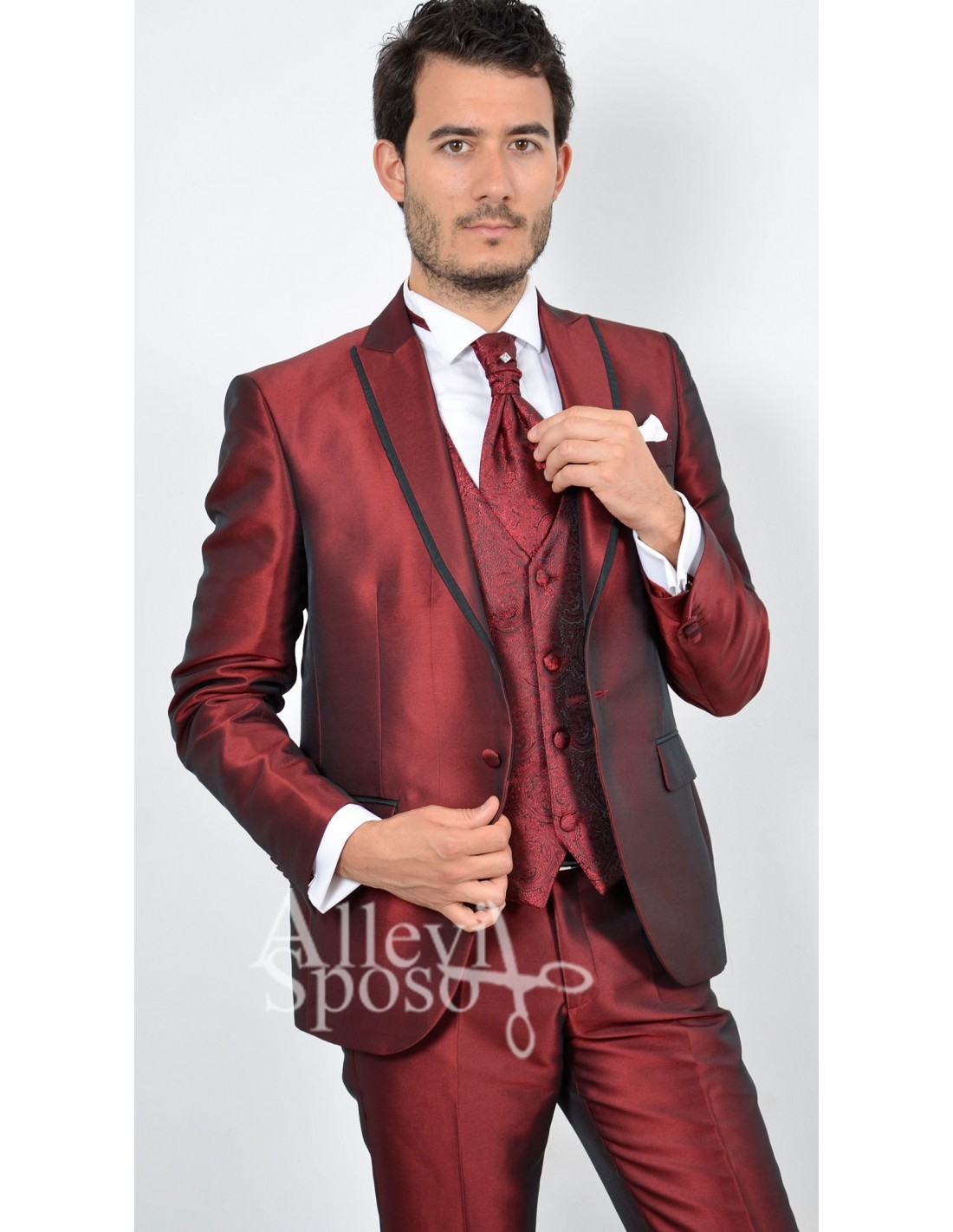 Vestito Matrimonio Uomo Rosso : Abito sposo rosso lucido uomo gente moda