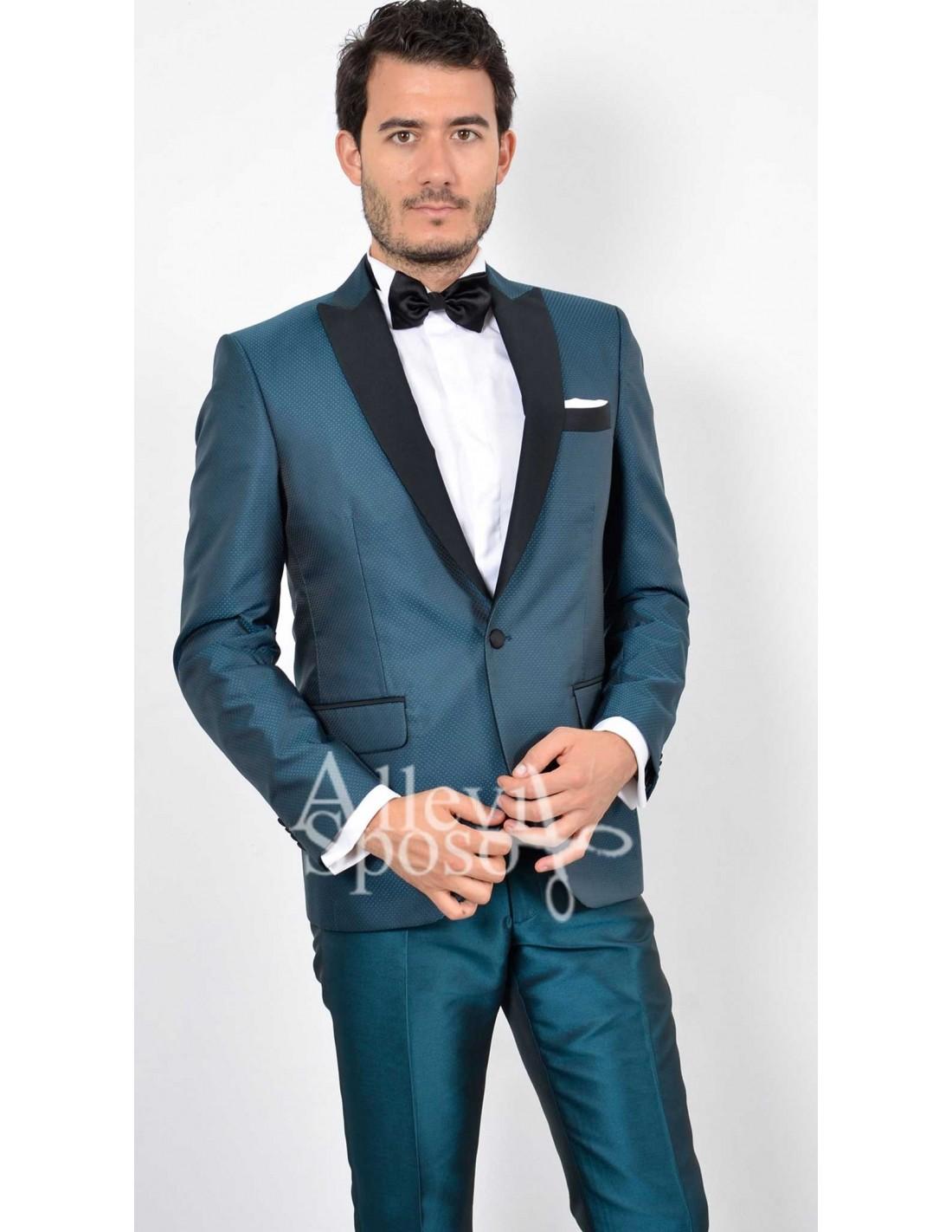 Vestito Matrimonio Uomo Damascato : Abito sposo verde petrolio
