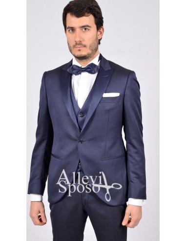 Abito Smoking Blu cerimonia vestito da sposo matrimonio sera fede4e0b6d4