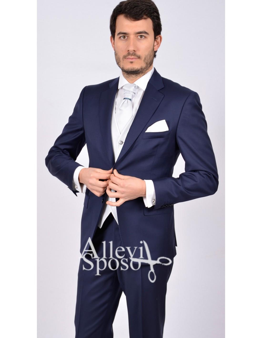 8a533695da989d abito da sposo blu elettrico opaco con gilet grigio chiaro