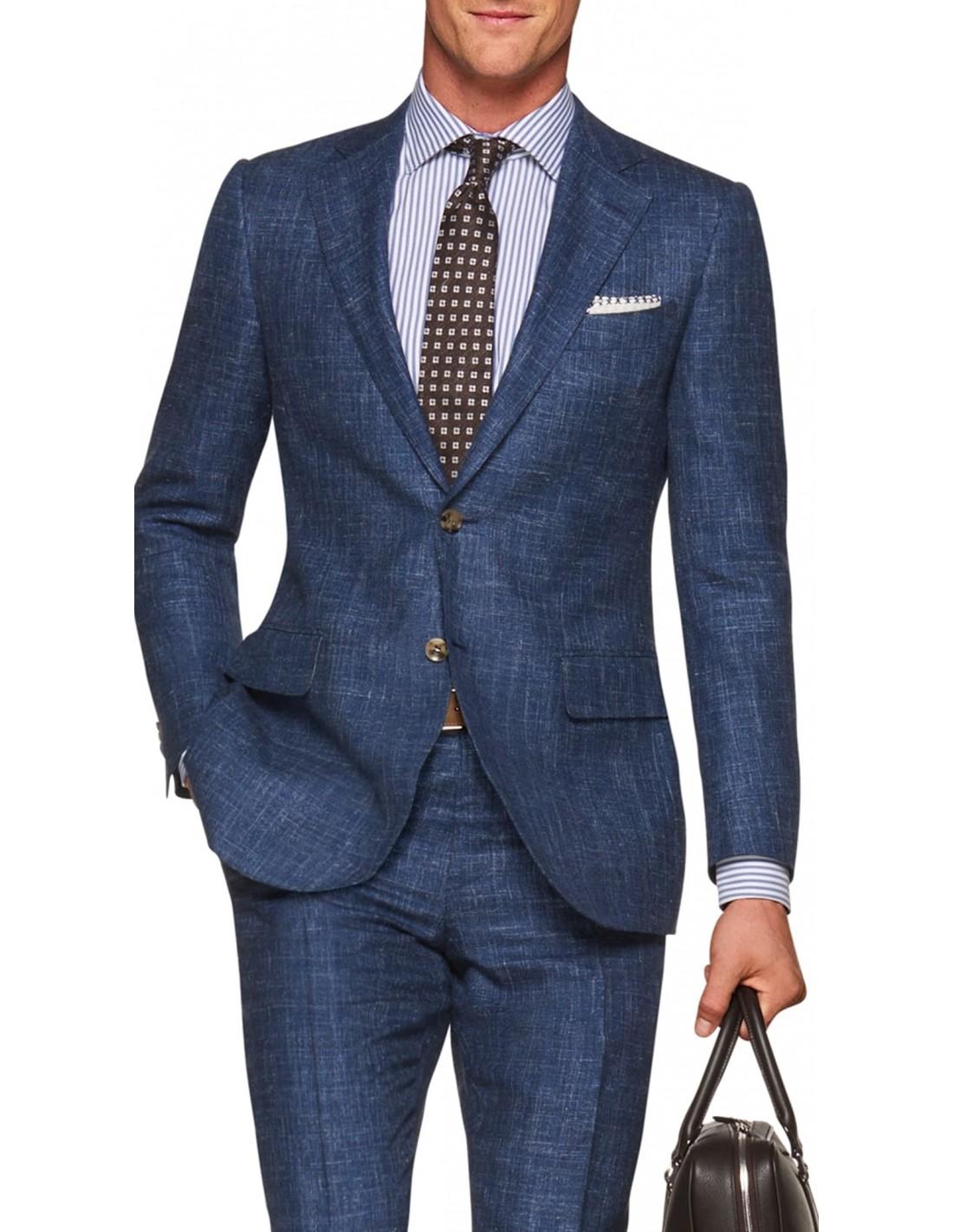 giacca uomo lino blu elettrico