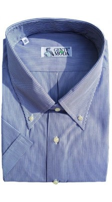 Camicia cotone doppio ritorto mezza manica azzurro