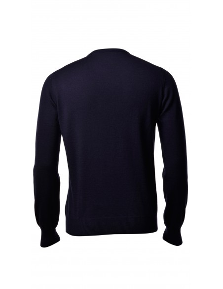 Maglia pura lana merino  blu girocollo